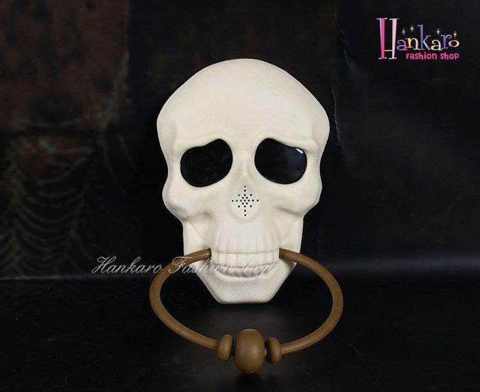 ☆[Hankaro]☆ 歐美創意萬聖節布置道具骷顱門環造型恐怖聲效門鈴