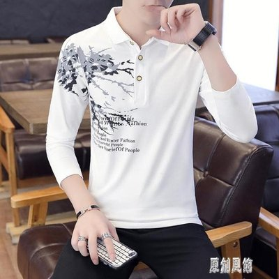襯衫領POLO衫男士長袖T恤秋冬季休閒薄款帥氣翻領男裝青年個性衣服 LR12431