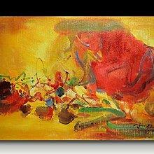 【 金王記拍寶網 】U993  朱德群 款 抽象 手繪原作 厚麻布油畫一張 罕見 稀少 藝術無價~