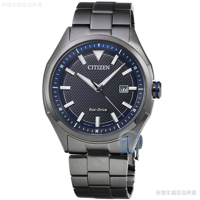 【柒號本舖】CITIZEN 星辰ECO-DRIVE 光動能石英鋼帶錶-IP黑 # AW1147-52L