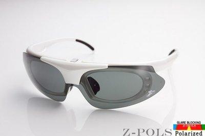 【Z-POLS全新設計款 】強化質感白 保麗來偏光 可配度設計頂級運動太陽眼鏡,原裝上市