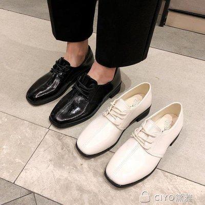 日和生活館 春新款韓版INS小皮鞋女復古英倫風學生百搭軟妹繫帶粗跟單鞋S686