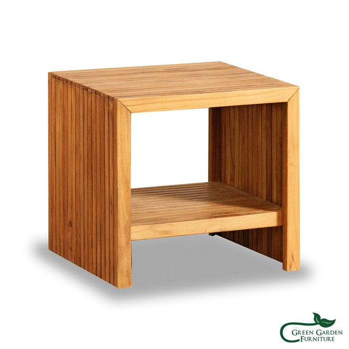 巴黎 柚木邊桌(原色)【大綠地家具】100%印尼柚木實木/無上漆原木款/實木邊几