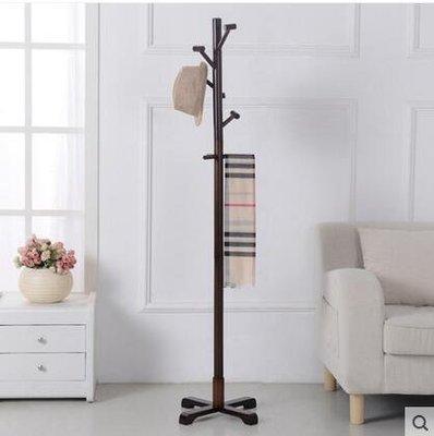 【優上】實木衣帽架落地掛衣架臥室衣服架子簡易歐式現代掛包架「咖啡色」