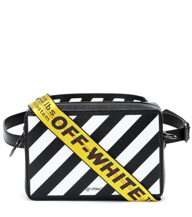 【OPENIT私藏現貨】 OFF WHITE Diag Binder Flap Bag 條紋 皮革 肩背包 黑色 腰包