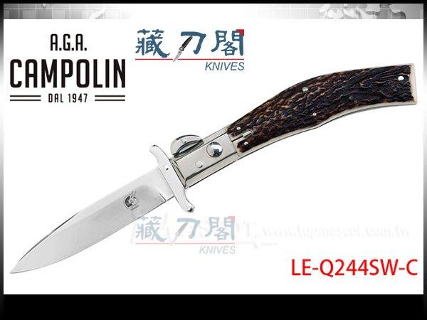 《藏刀閣》A.G.A.Campolin-(Lepre Swinguard)歐洲雄鹿角大型野兔彈簧刀