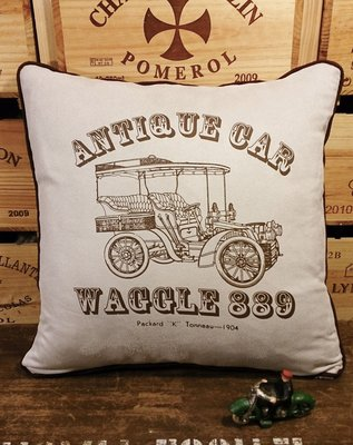 復古車5(E款) 麂皮手工抱枕 : 車 古典 工業風 純手工 抱枕 居家 裝飾 家飾 麂皮 : waggle889