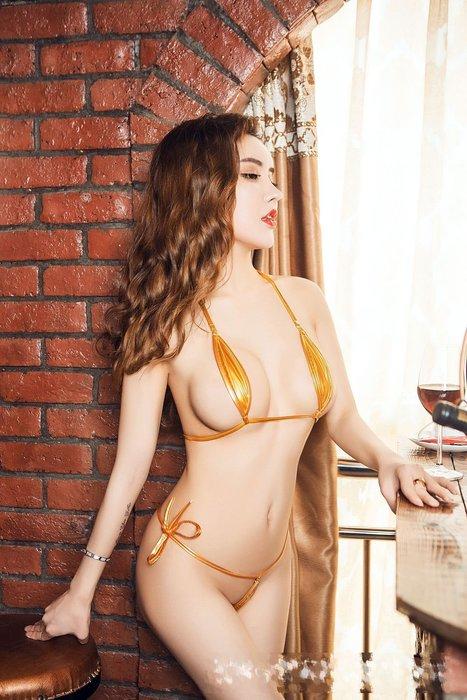 【原價160 特價現貨120】日本AV款情趣內衣 漆皮綁帶三點式超迷你丁字比基尼泳裝 5色 B6082