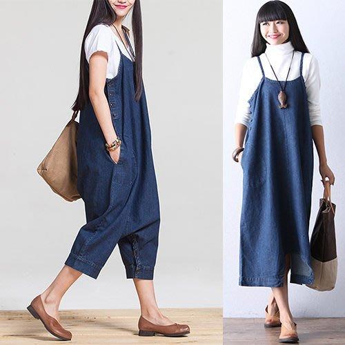 周董的店 韓版限定商品 吊帶寬鬆修飾牛仔九分褲-預購
