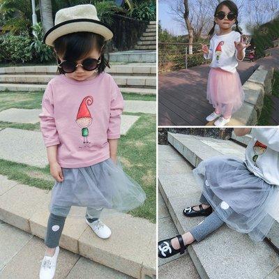♥【GK0155CQ-8706】韓版女童裝網紗圓點假兩件裙褲 2色 (灰色 現貨) ♥