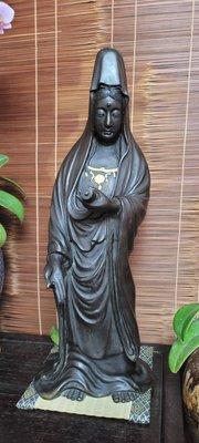 @@@六合堂@@@日本百年銅造書卷觀音立像,拍賣級藏品,參考年代:江戶以上,面容慈善,櫻珞純金金