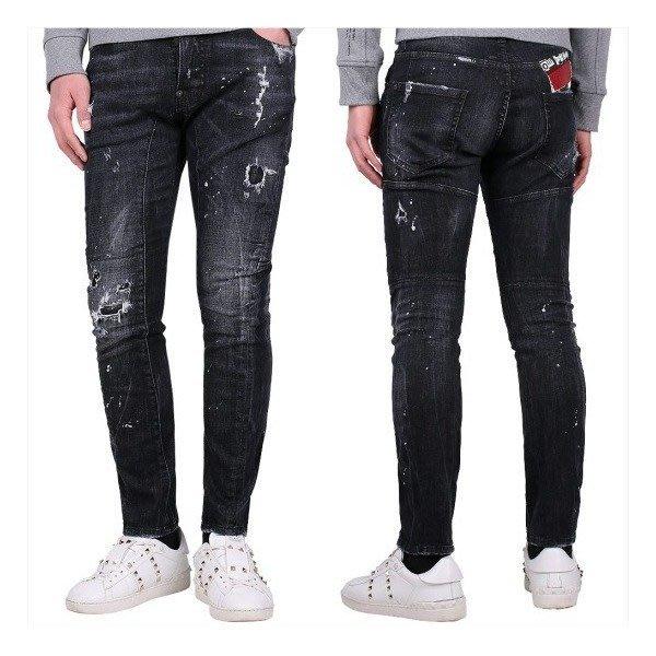 現貨【DSQUARED 2】2019春夏 黑色刷白破壞TIDY BIKER牛仔褲 *30%OFF*