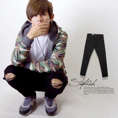 柒零年代【N9596J】韓版膝蓋劃破窄管刀片褲/牛仔褲(SH2098)