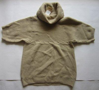 義大利精品[PIPPy] 女淺米棕品味高領短袖毛衣(編號0749-1)~M