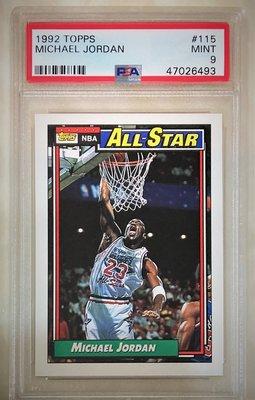 1992 Topps #115 All Star 全明星 MICHAEL JORDAN PSA 9