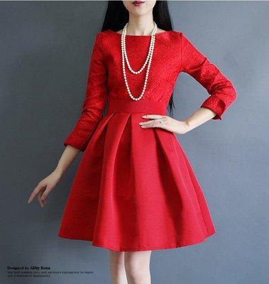 【臻嫻悠活館】一字領 大碼  修身 紅色 長袖 蓬蓬禮服 連衣裙 秋中長款名媛(現貨L)