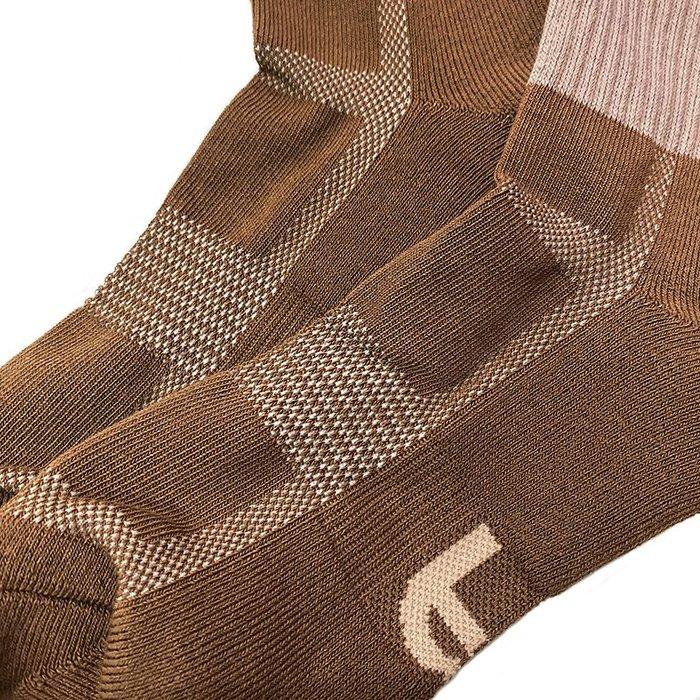 GIANT X BFF BEST FOOT FRIEND - 色塊撞色襪 中筒襪 咖啡/芥末黃 2雙免運