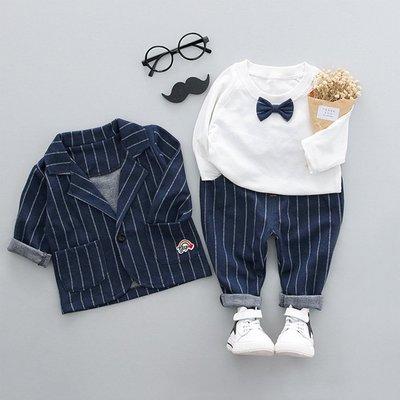 男童裝英倫帥氣藍色小西裝三件式(C16)💗Y&K 童裝小舖 男童裝 兒童西裝 花童  禮服 西服