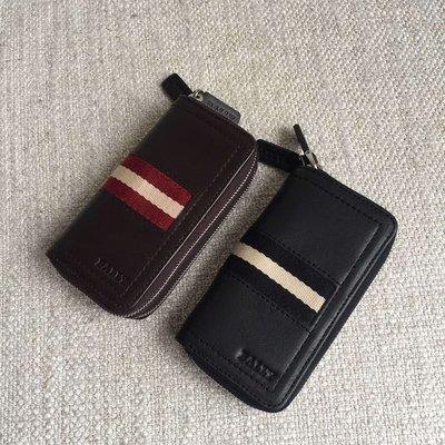 ╭☆包媽子店☆Bally 皮革經典條紋雙拉鏈鑰匙扣零錢包