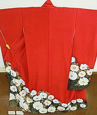 [兔尾屋和服專賣] 振䄂  紅色系花卉圖案