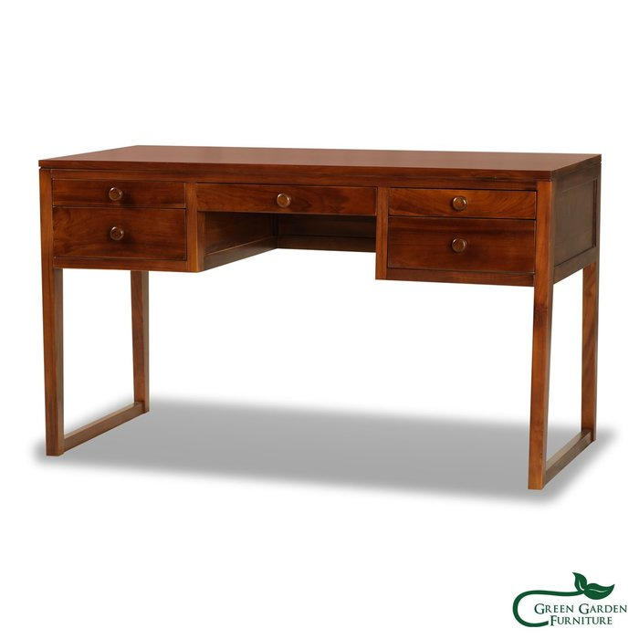 紐約 柚木紐約書桌(133公分)【大綠地家具】100%印尼柚木實木/經典柚木/書桌/收納桌/多功能/免組裝