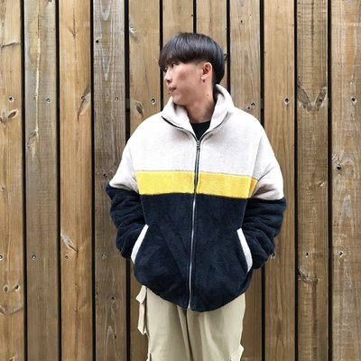 【inSAne】Korea Select / 毛料材質 / 拼色 / 韓國街頭外套 / 藍黃白 & 白黃黑