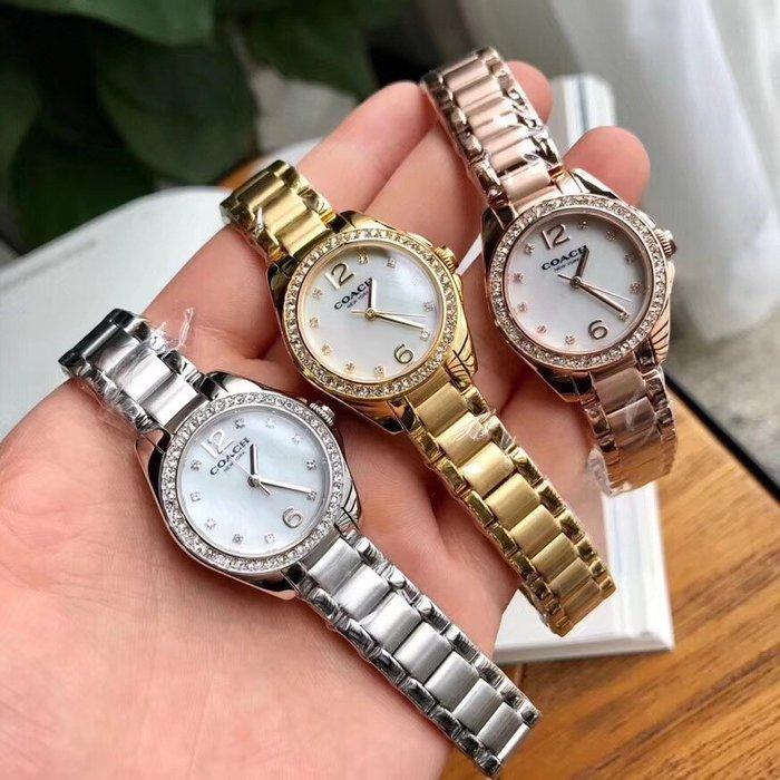 NaNa代購 COACH 手錶 天然珍珠貝母面 生活防水 帶鑽石英手錶 簡約精緻 附購證 禮品盒