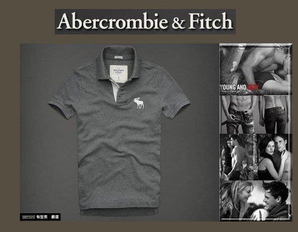 有型男~ A&F Abercrombie&Fitch 旗艦經典大麋鹿刺繡素色 polo Hebert Brook M L