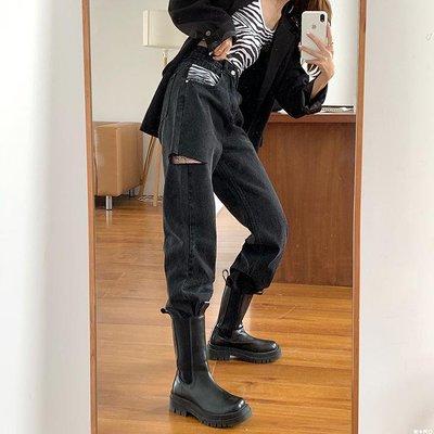 ☆格林居家☆ PPHOME拽酷女孩SLAY全場~酷酷少女斑馬紋口袋破洞炭黑闊腿牛仔褲GL85