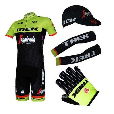 [酷樂精品] 18年TREK崔克車衣套餐(短套+布帽+手套+袖套) 萊卡纖細吸濕排汗 騎行,公路車 登山車 腳踏車 單車