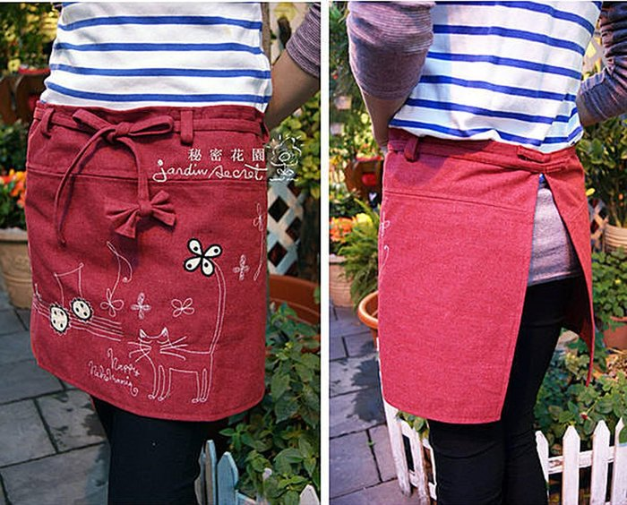 圍裙工作服--日本鄉村風貓咪音符刺繡半身綁帶圍裙/工作服-166款(紅)  /限時優惠--秘密花園