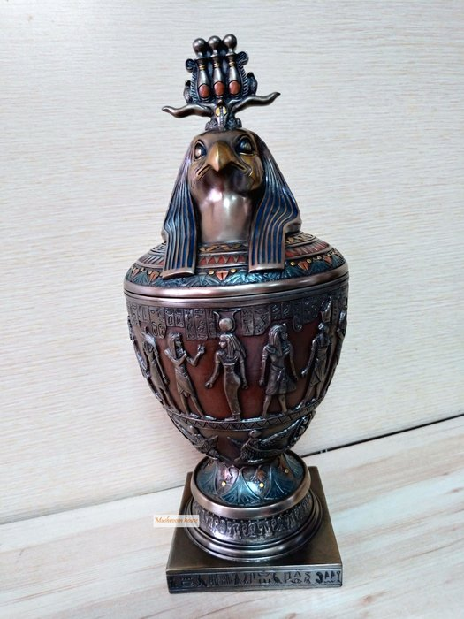 點點蘑菇屋 歐洲精品~埃及仿銅鳥神荷魯斯卡諾皮克罐 卡諾卜罈 卡諾波罐 擺飾 古埃及文明 埃及古文 圖騰 藝術品 免運費