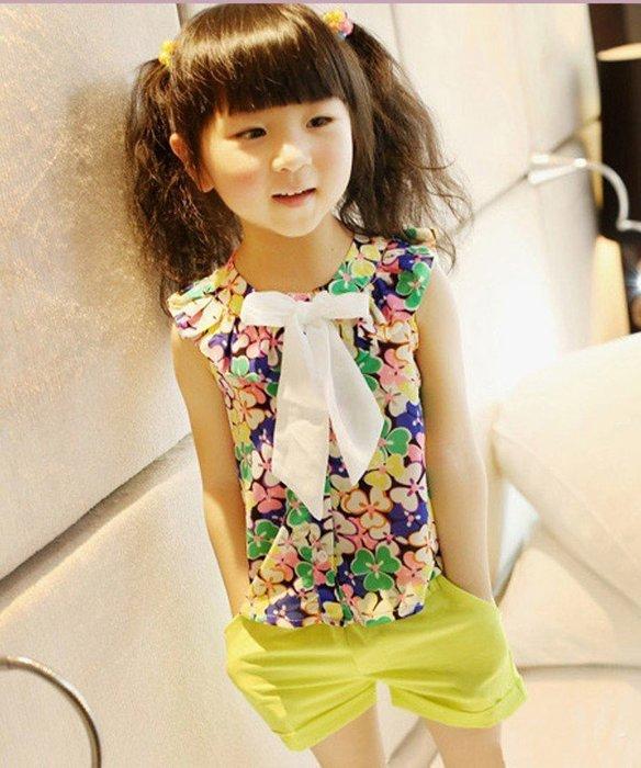 **阿布童裝**【DE495】夏款韓版炫彩花朵雪纺蝴蝶结無袖上衣 80cm~110cm