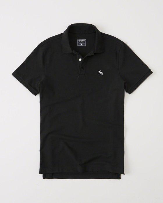 美國百分百【Abercrombie & Fitch】Polo衫 AF 短袖 上衣 麋鹿 男 素面 黑色 S號 I063