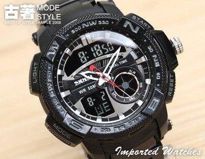 『古著Ancient 』【SS0027】運動潛水電子錶,雙時間/鬧鐘/碼錶/冷光/大鏡面/雜誌款,多功能不鏽鋼防水錶