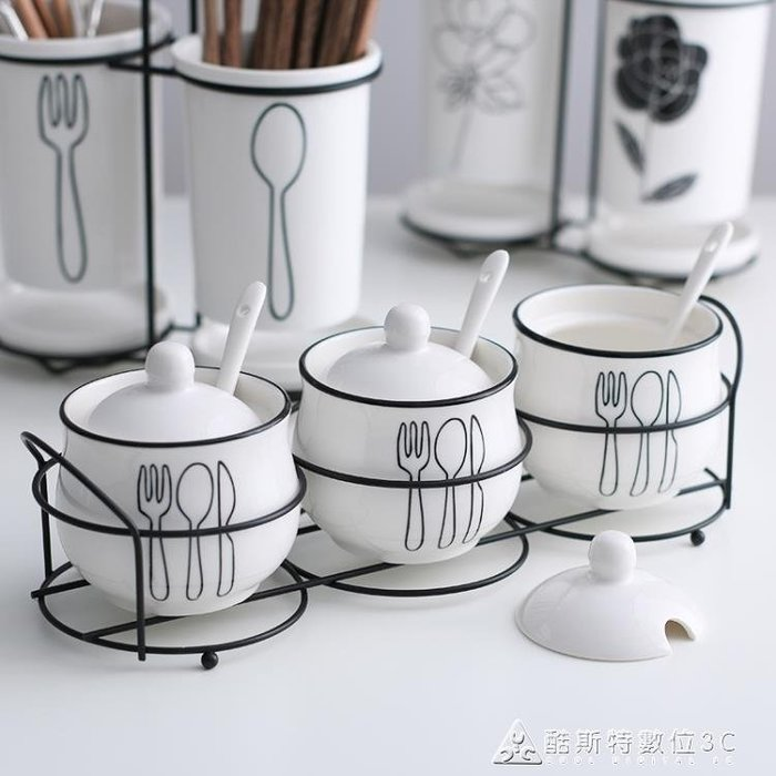 調味罐調味罐創意陶瓷歐式調味盒瓶調料罐盒瓶鹽罐三件套裝廚房用品用具