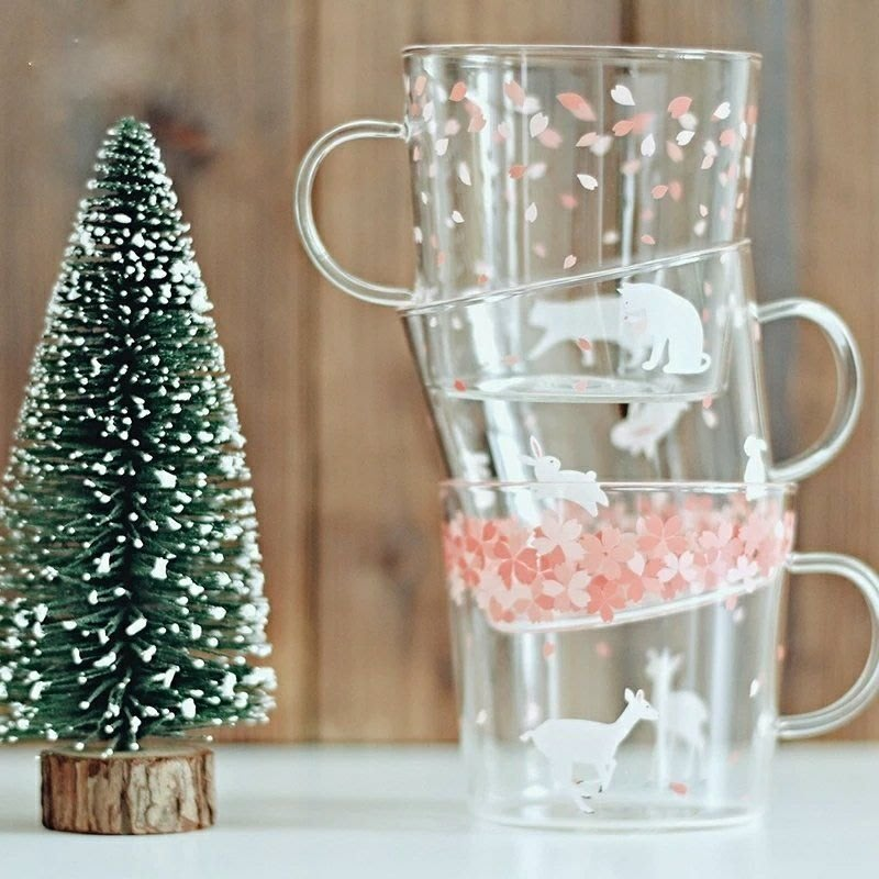 現貨 玻璃杯 馬克杯 正品 櫻花杯 310ml 耐熱玻璃杯 手工玻璃杯  咖啡杯 牛奶杯 星巴克 貓  7-11蛙蛙雜貨
