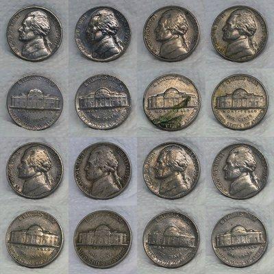 美國已絕版 (JEFFERSON) 之早期 5 CENTS 鎳幣 共8枚一起標 【A2450】