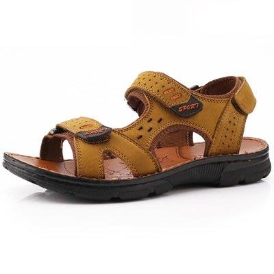 涼 鞋 真皮拖鞋-戶外休閒耐磨防滑男鞋子4色73sa14[獨家進口][米蘭精品]