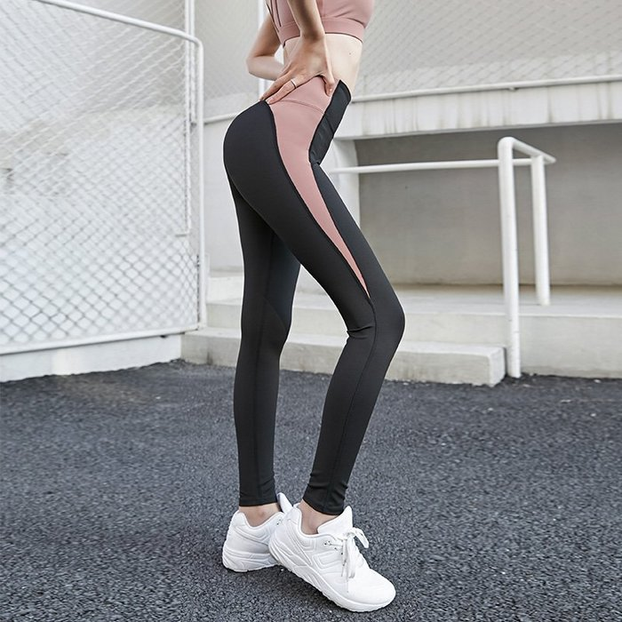 FuNFang_撞色拼接高腰提臀運動緊身褲 瑜珈跑步健身運動褲*3色