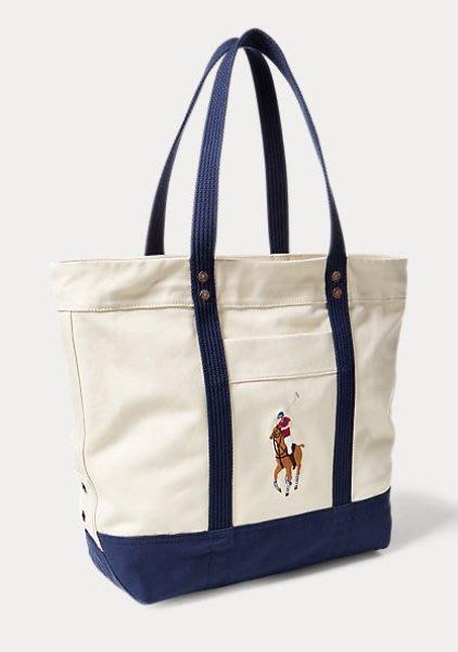 POLO Ralph Lauren 托特包 帆布包 購物包 彩色大馬 logo 現貨