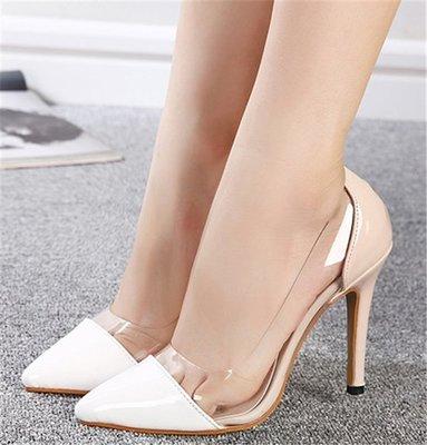 ~Linda~~歐美秋夏透明玻璃膠尖頭高跟鞋淺口細跟鞋性感拼色單鞋時尚套腳鞋