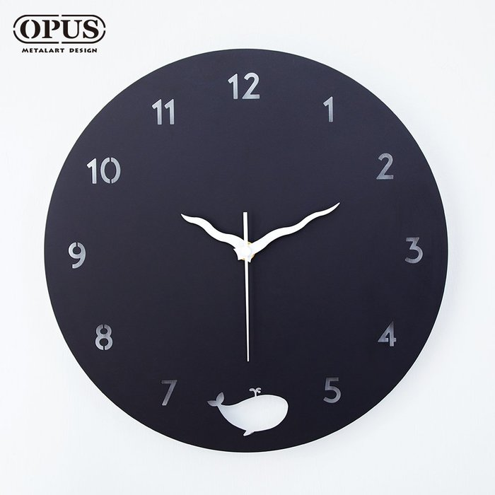 歐式鐵藝時鐘《藍鯨圓舞曲》經典黑 裝飾藝術掛鐘 餐廳客廳臥室壁掛壁飾 靜音壁鐘鐘錶【OPUS東齊金工】CL-nw12B
