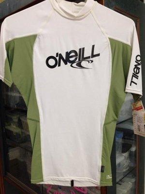 台灣潛水--- 出清 O'neil 短袖防曬衣 白綠XS 男
