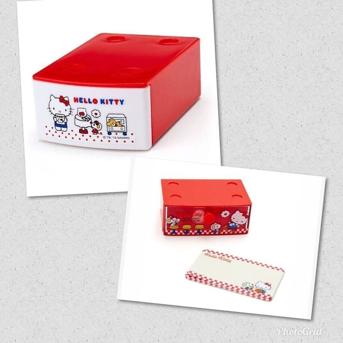 Hello Kitty 迷你積木抽屜盒附便條紙《紅、點點》可堆疊.內含20張