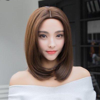 假髮女短假髮中分中長髮圓臉長直髮內彎修臉直髮自然假髮套