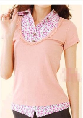 全新粉紅小碎花假二件式短袖上衣
