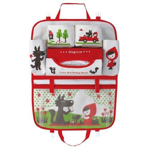【小糖雜貨舖】日本進口 Decole 多功能車用餐盤 收納袋 掛袋+面紙袋/置物袋 - 小紅帽