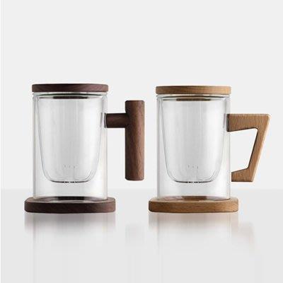 玻璃馬克杯 水杯(1入)-實木耐熱帶蓋透明茶杯16款73pp635[獨家進口][巴黎精品]