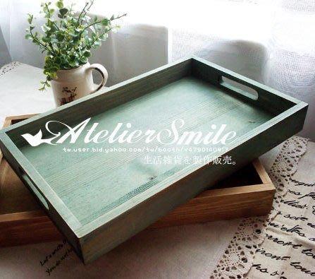 [ Atelier Smile ] 鄉村雜貨 原木作舊杉木托盤 雜物盒 附把手 兩色選 (現貨木色)
